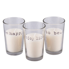 Broste Copenhagen sfeerlicht in glas be happy, enjoy life en to be